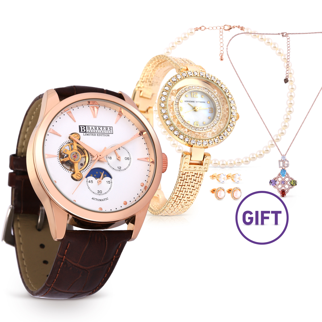 Rose Gold Automatic Watch & Gifts