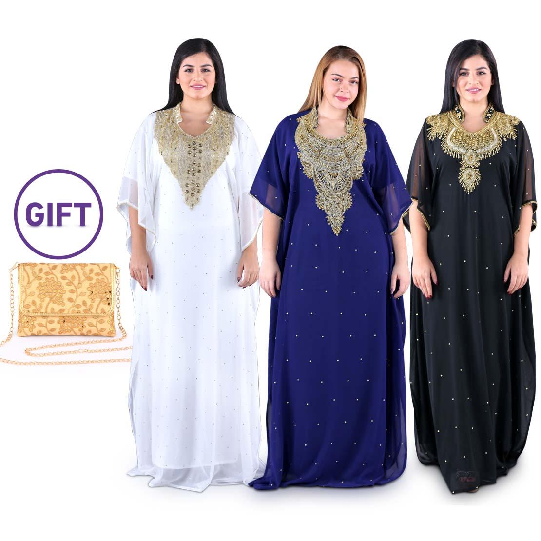 Mahra Embellished Jalabiyas - Pack of 3