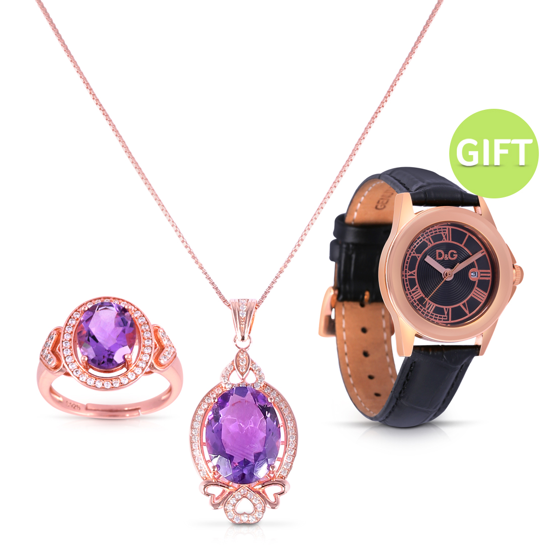 Natural Amethyst Jewelry & Watch Set