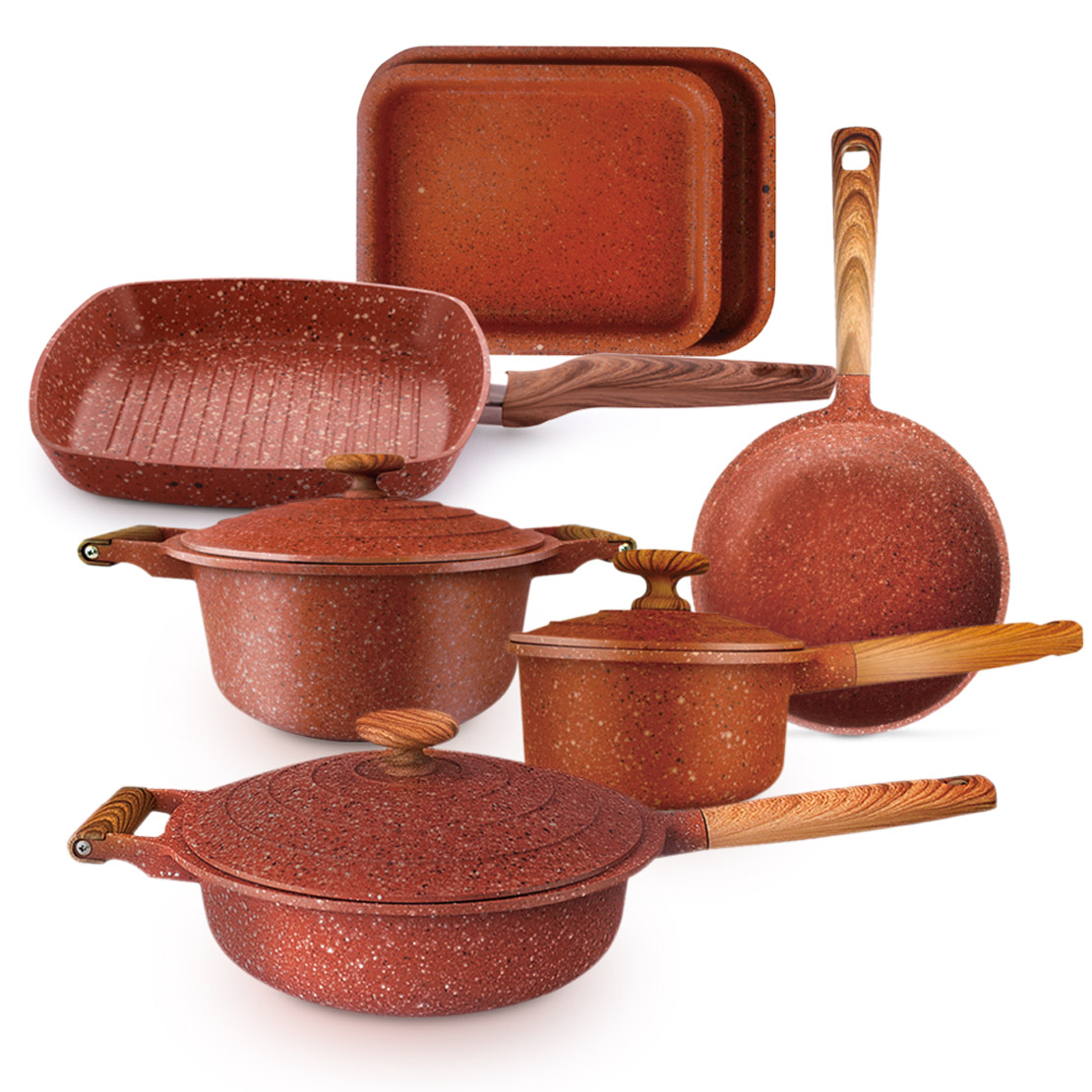G1019 Granite Cookware Set 10 Piece - Red