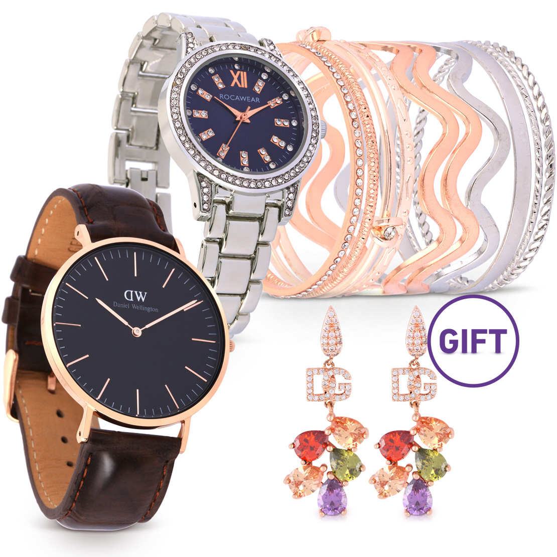 Classic Black York Watch with Gifts