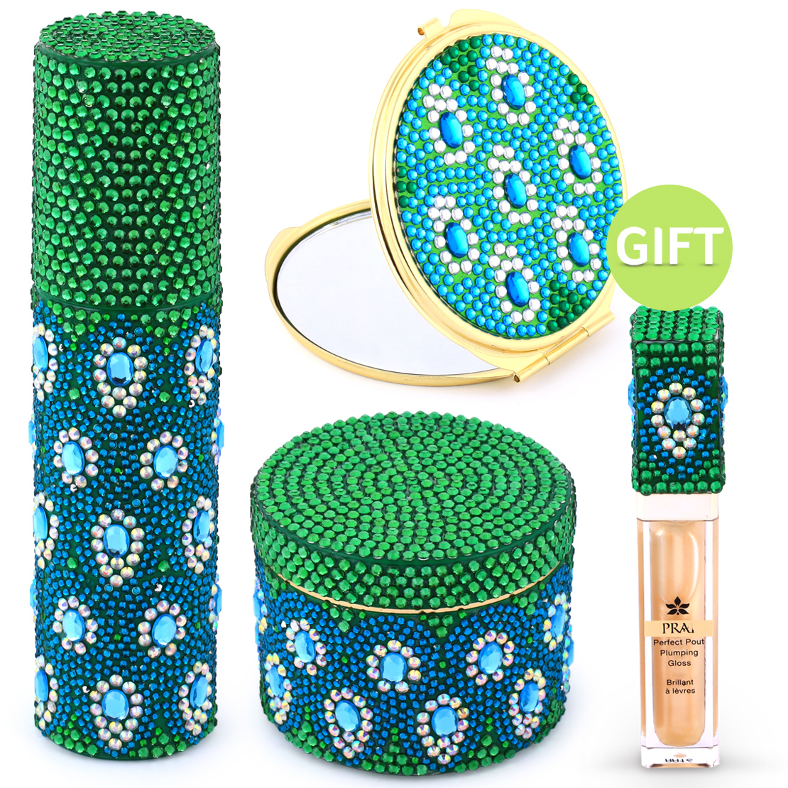 Golden Jeweled Peacock Emerald Set & Gifts