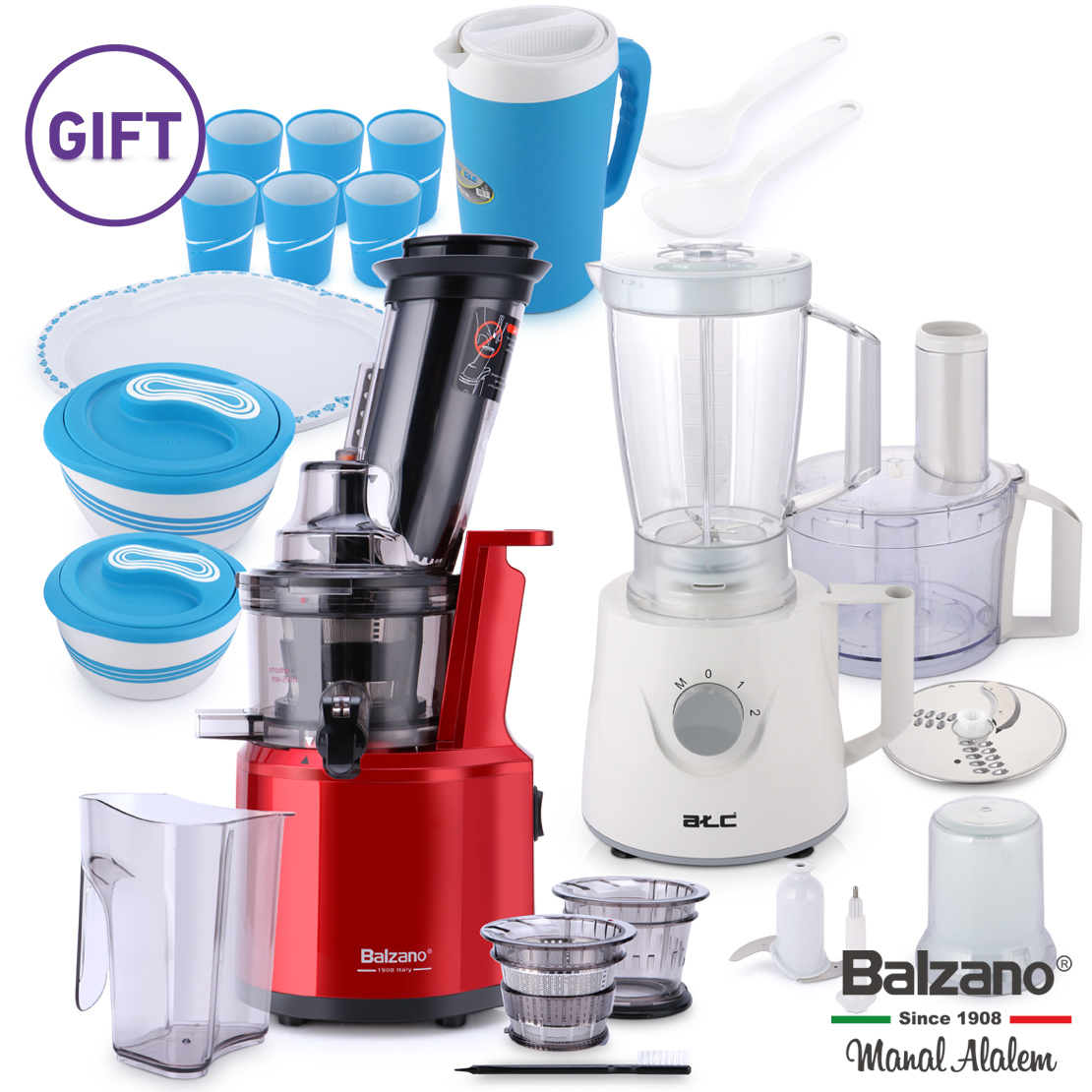 Wide Mouth Slow Juicer with Food Processor & Gift