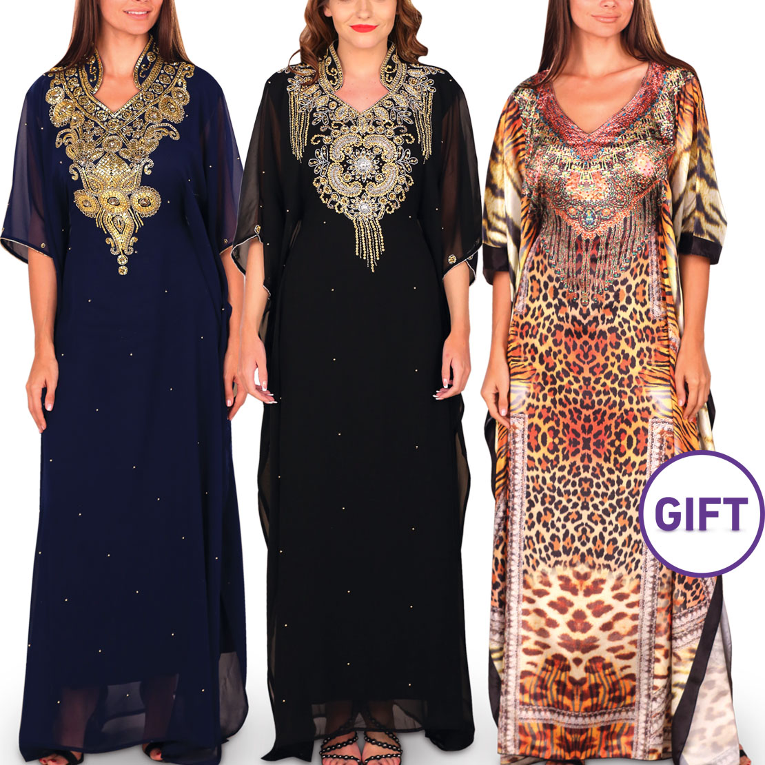 Zeinah Embellished Jalabiya - Pack of 2 & Gift