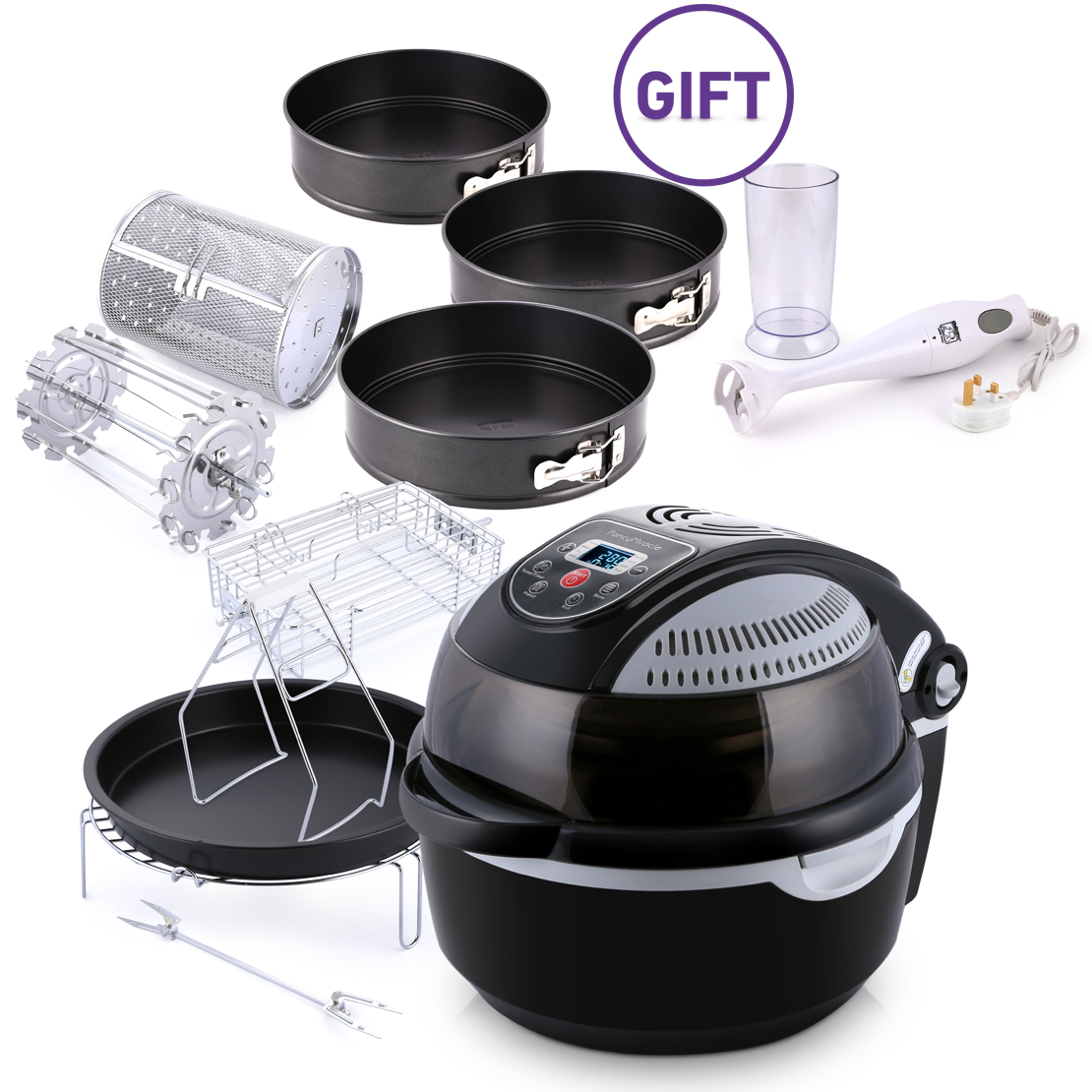 10 Liter Air Fryer RA001L - Black with Gifts