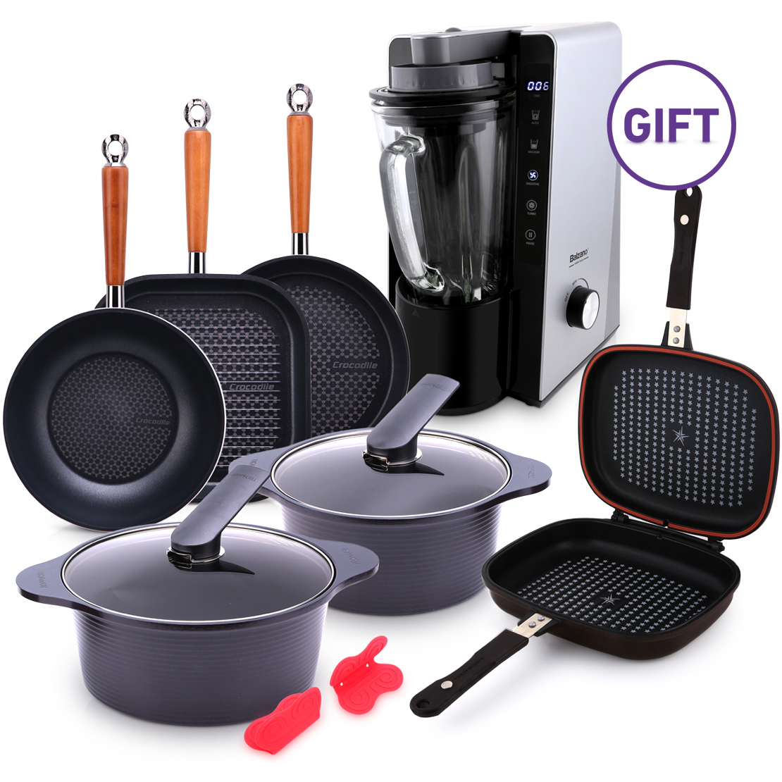 8 Piece Crocodile Cookware Set with Gifts