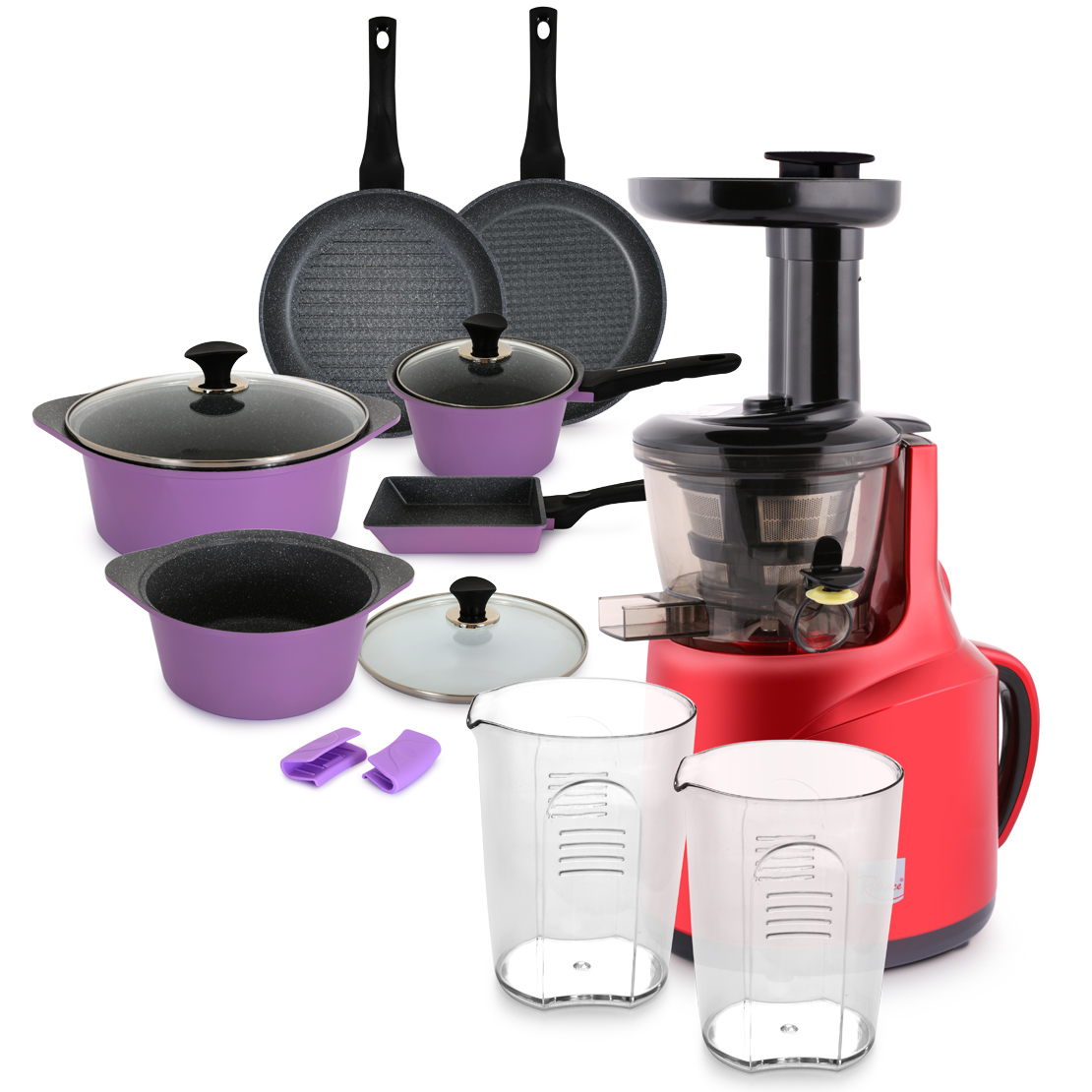 Slow Juicer Red & 10 Piece Cookware Set