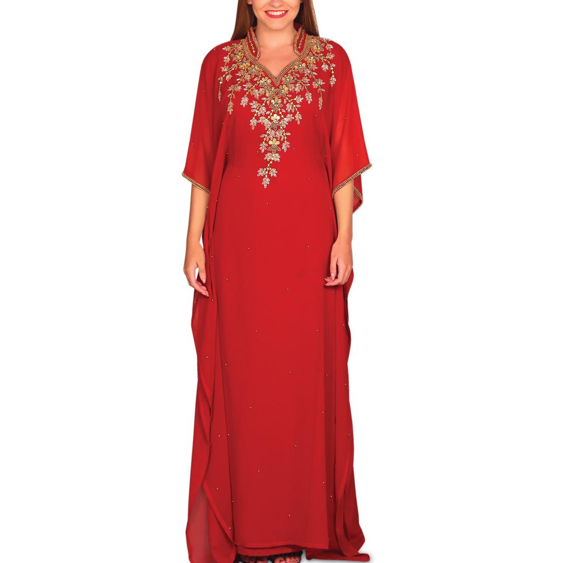 Thuraya Embellished Jalabiya - Red